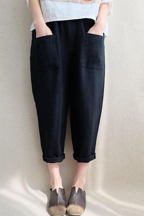 Linen Front Pockets Solid Pants