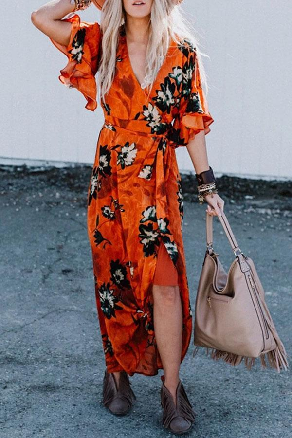 Ruffled Floral Self-tie Casual Maxi Dress
