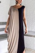 Paneled Irregular Elegant Slit Maxi Dress