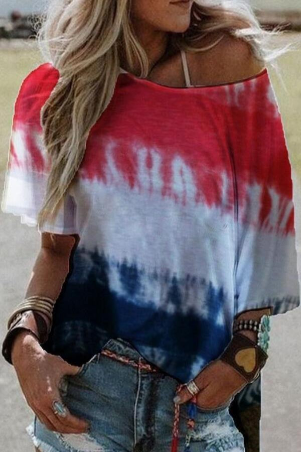Gradient Print Crew Neck Short Sleeves Casual T-shirt