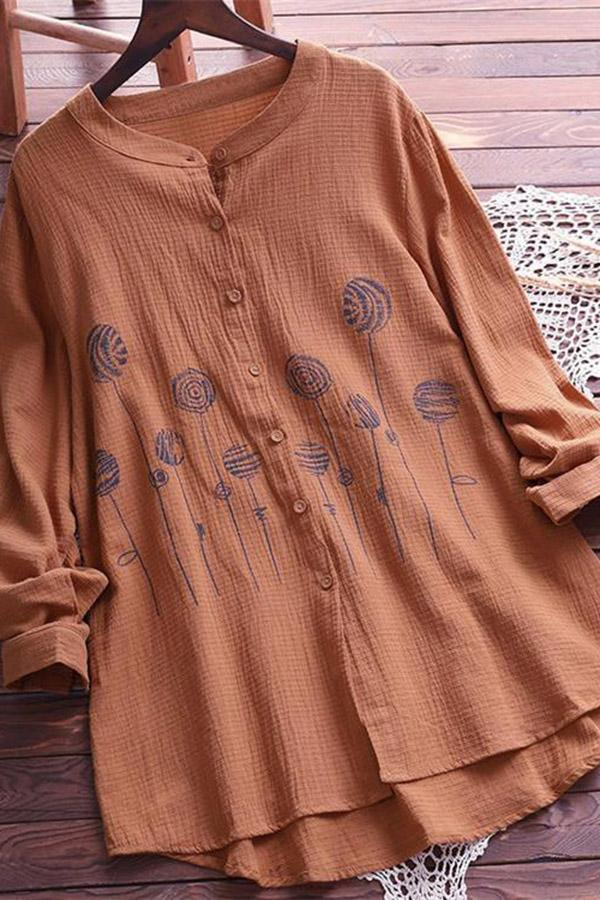 Print Buttoned Loose Casual Blouses