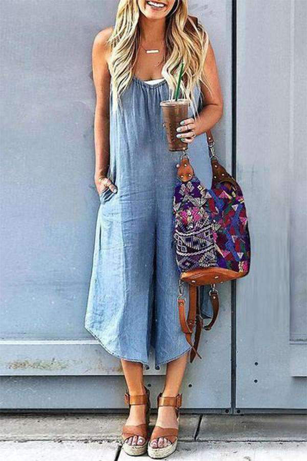 Solid Casual Pockets Wide Leg Denim Jumpsuit