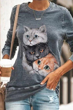 Cartoon Three Lifelike Cat Print Paneled Crew Neck T-shirt