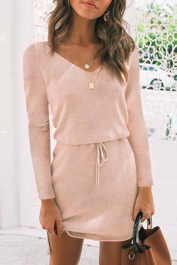 Solid V-neck High Low Self-tie Sweater Dress
