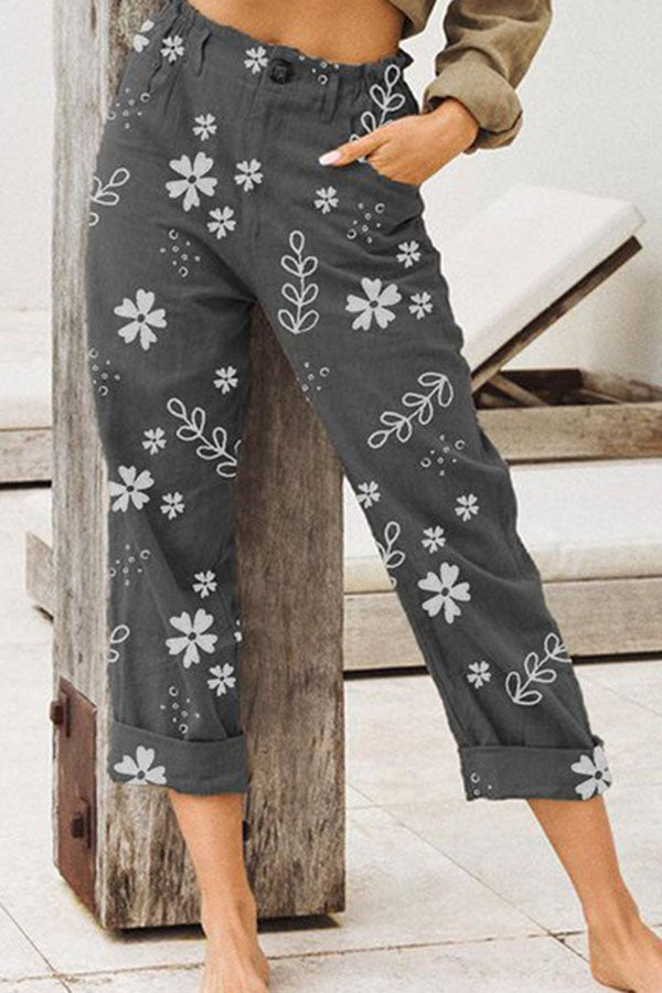 Casual Print Loose Pockets Pants