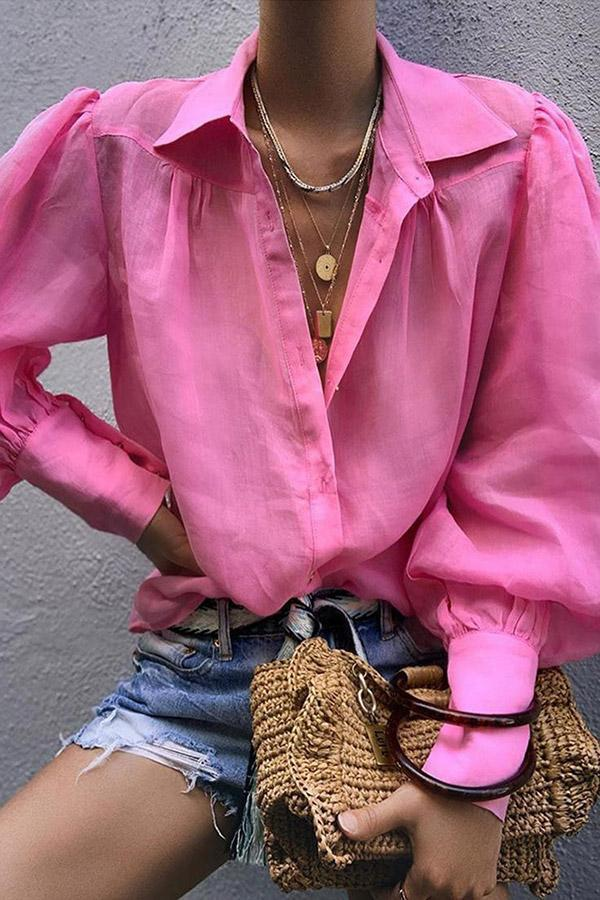 Balloon Sleeve Shirt Collar Blouses