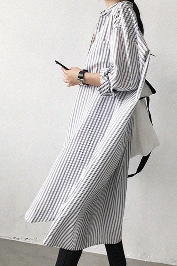 Paneled Stripe Button Curved Hem Casual Midi Dress