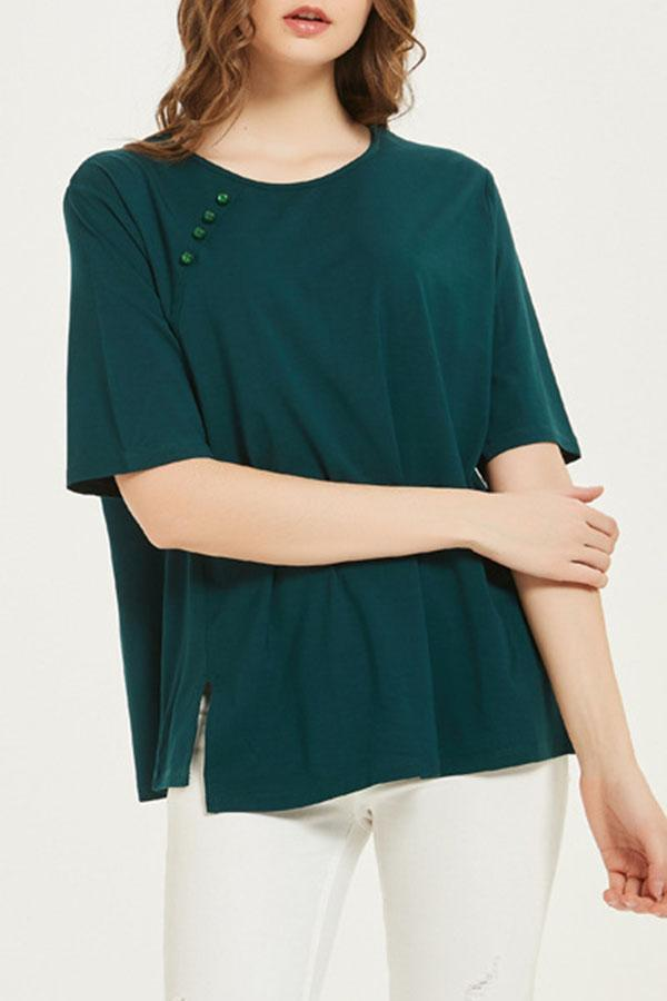 Solid Bead Casual Half Sleeve Slit Casual T-shirt