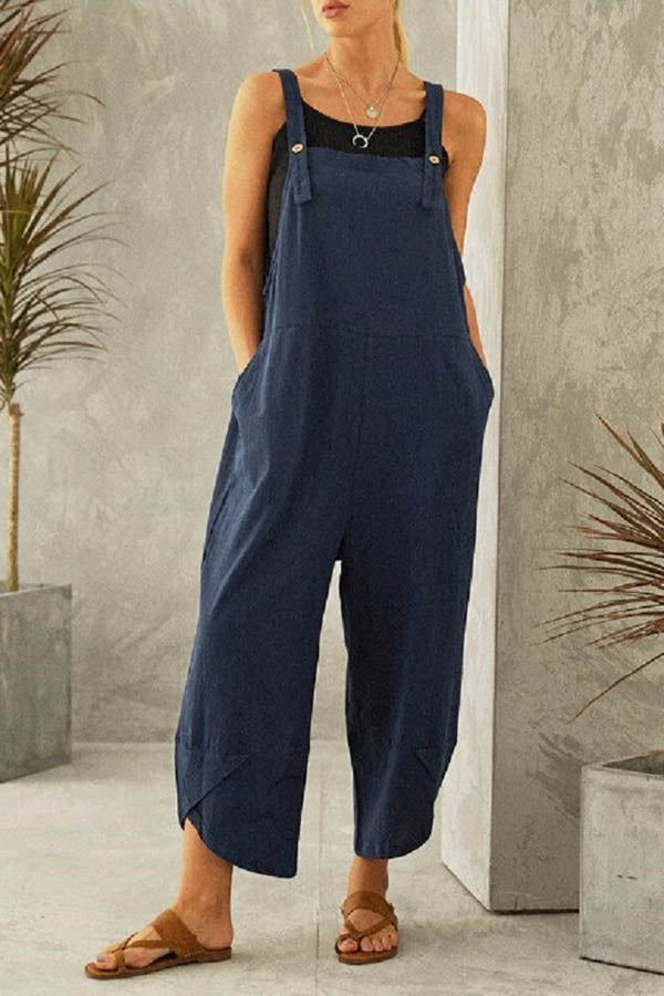 Casual Solid Sling Buttoned Cross Front Hem Wide Leg Jumpsuit
