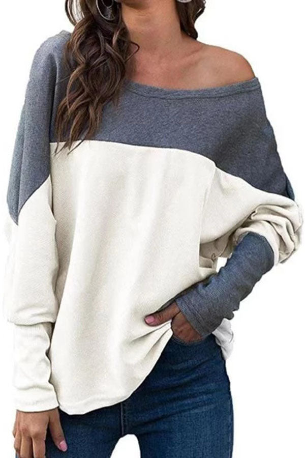 Casual Colorblock Round Long Sleeves T Shirt