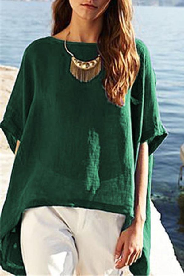 Paneled Solid Half Sleeves High Low Casual Blouse