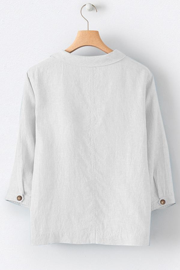 Crew Neck Solid Long Sleeve Buttoned Blouses