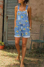 Holiday Sunflower Print Paneled Pockets Buttoned Denim Romper