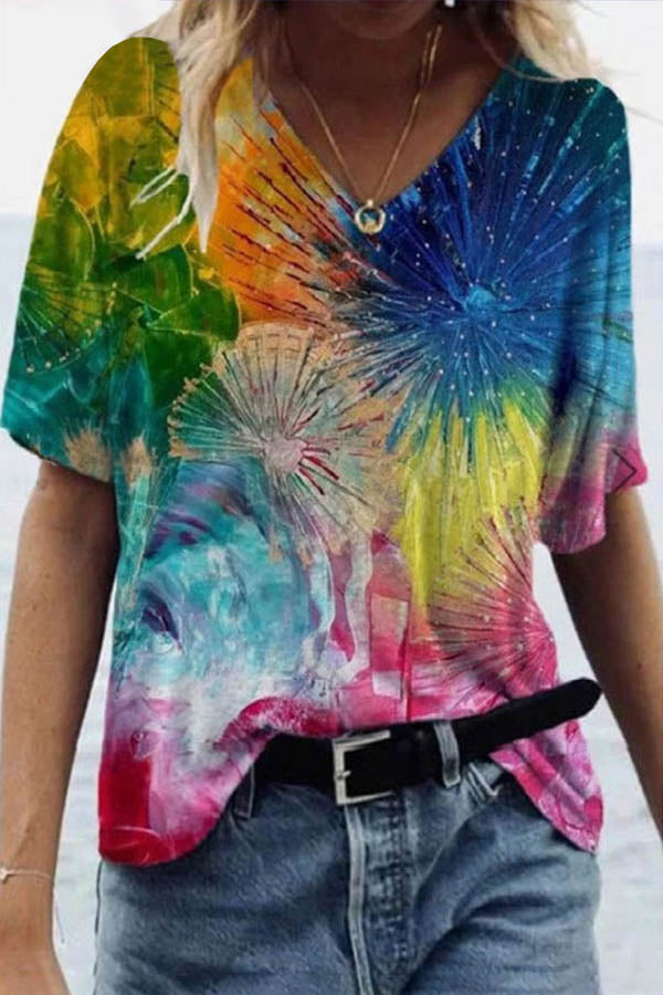Artistic Abstract Colorful Floral Graffiti Gradient Print Shift T-shirt