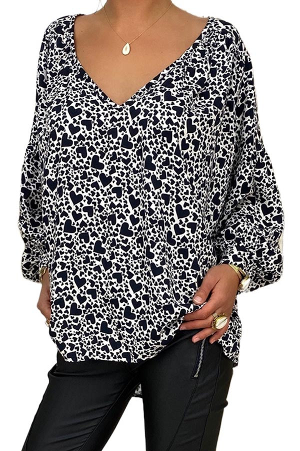 Casual Print V Neck Loose Sleeves Blouse