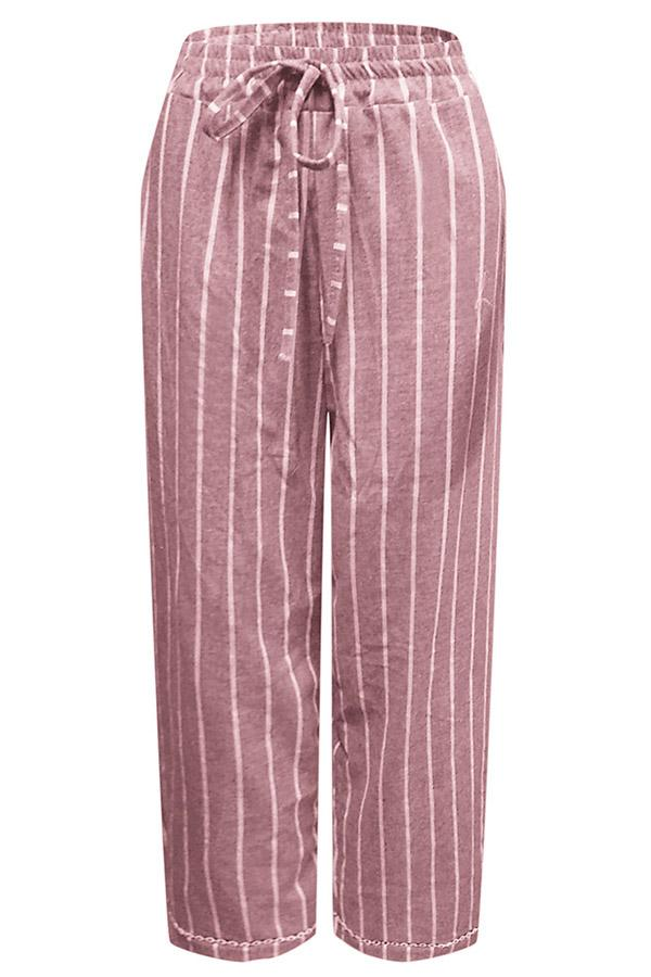 Casual Striped Self-tie Wide Leg Pants