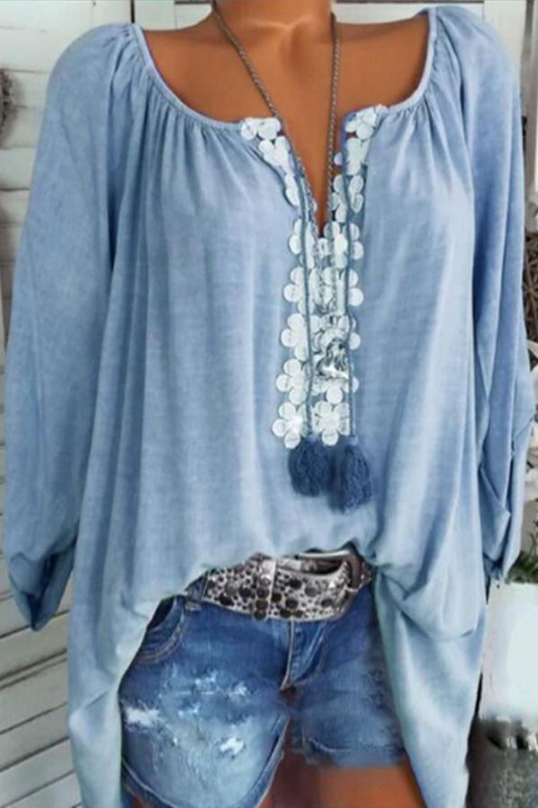 Fringed Paneled Floral Long Sleeves Blouses