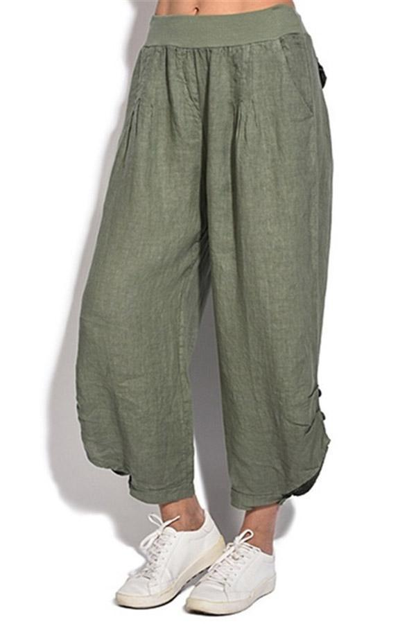 Side Pockets Solid Casual Linen Pants