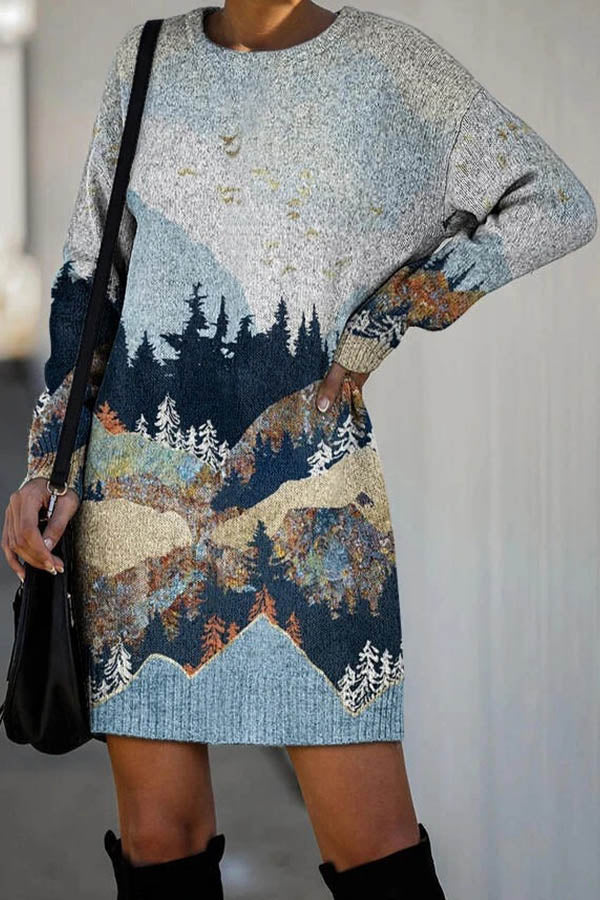 Gradient Forest Mountain Nature Landscape Jacquard Holiday Slit Mini Dress