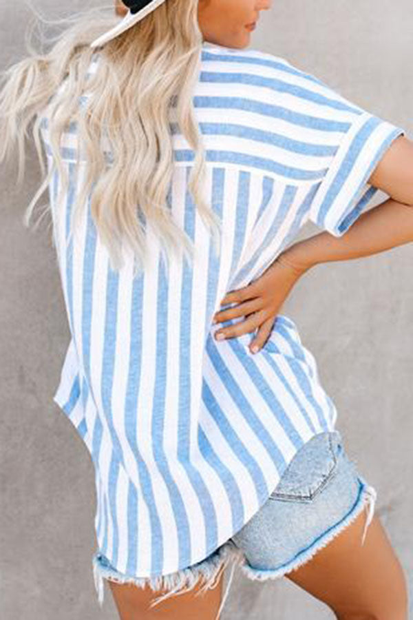 Casual Stripe Polo Neck Short Sleeves Shirt