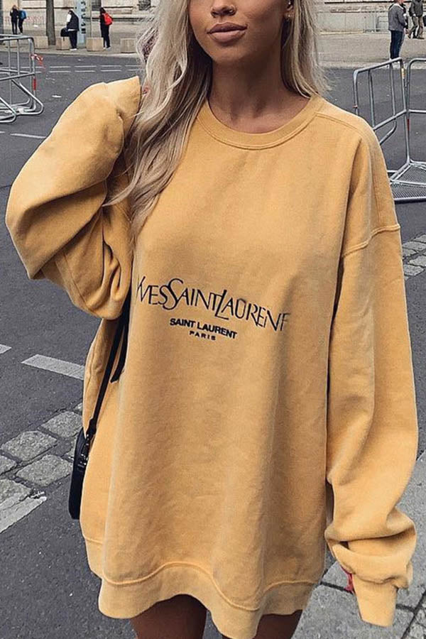 Simple Letter Print Women Casual Crew Neck Sweatshirt