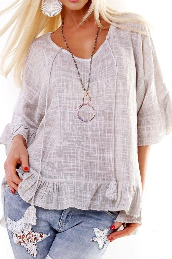 Casual Plaid Half Sleeves Flounced T-shirts