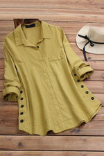 Solid Pockets Long Sleeves Blouses