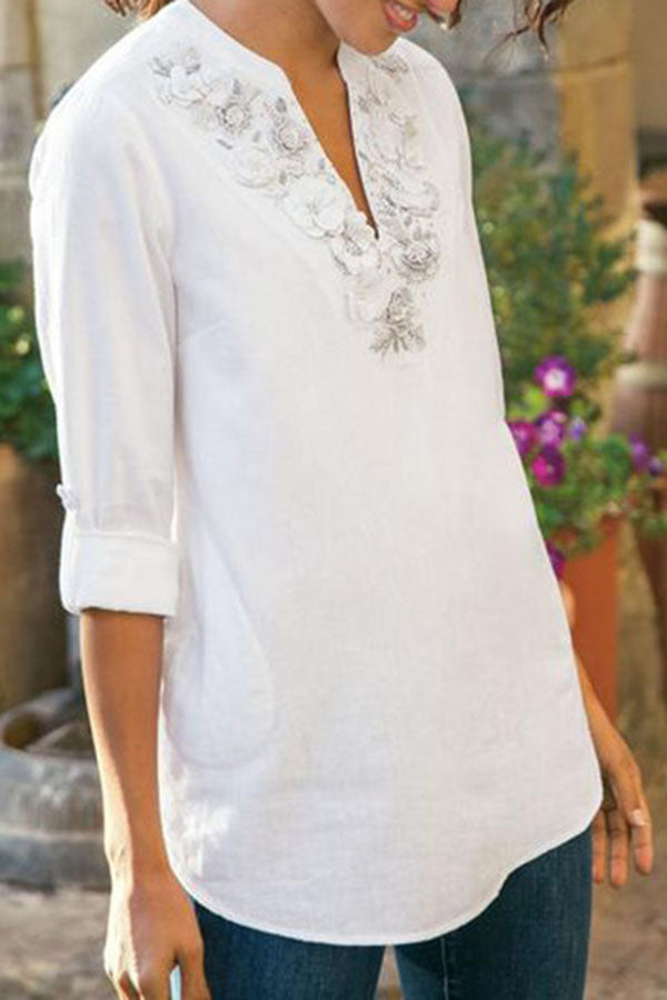 Floral Embroidery V-neck Casual Long Sleeves T-shirt