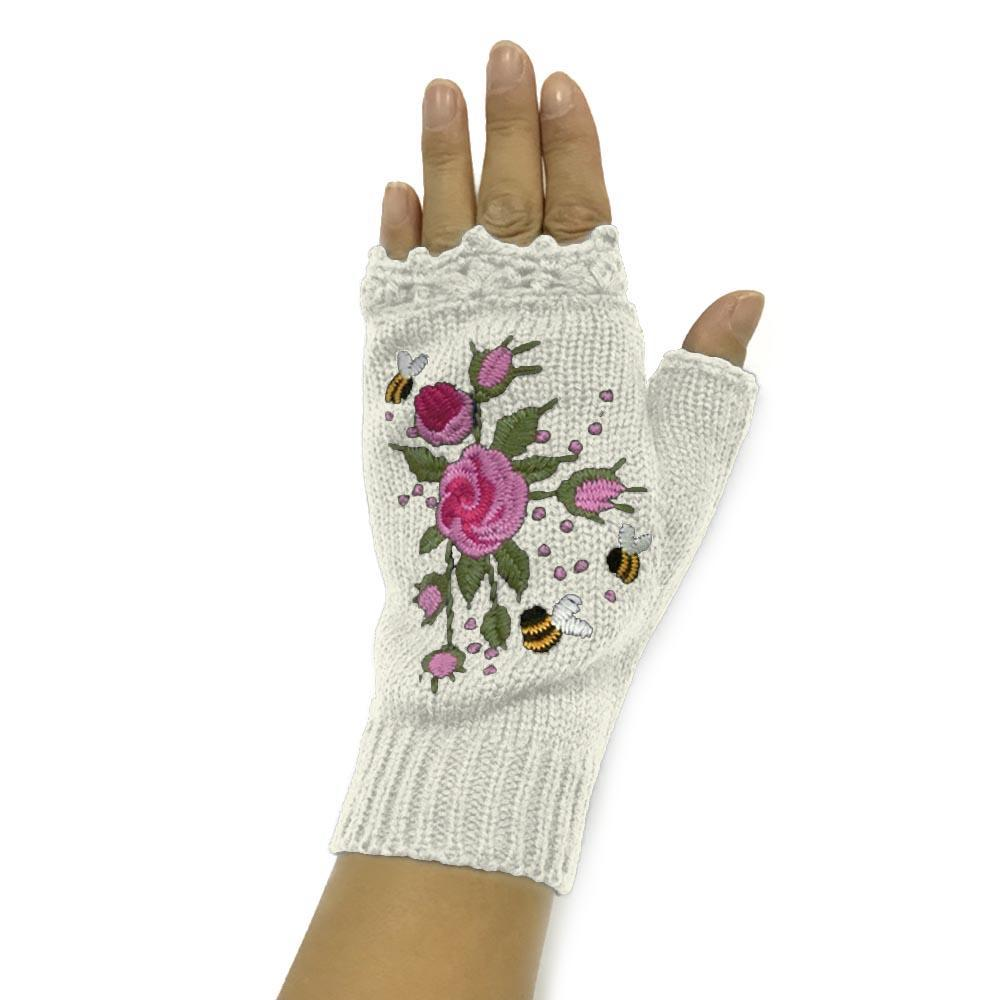 Floral Embroidery Ribbed Fingerless Gloves