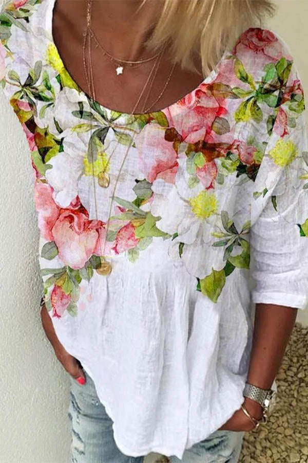 Casual Floral Print Crew Neck Half Sleeves Blouse
