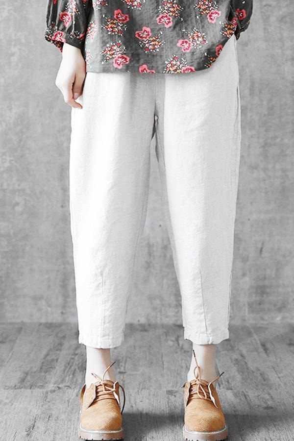 Casual Solid Linen Pocket Harem Cropped Pants