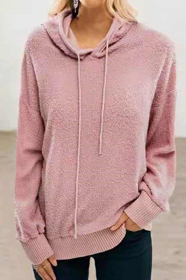 Fuzzy Solid Paneled Ribbed Casual Drawstring Hoodie