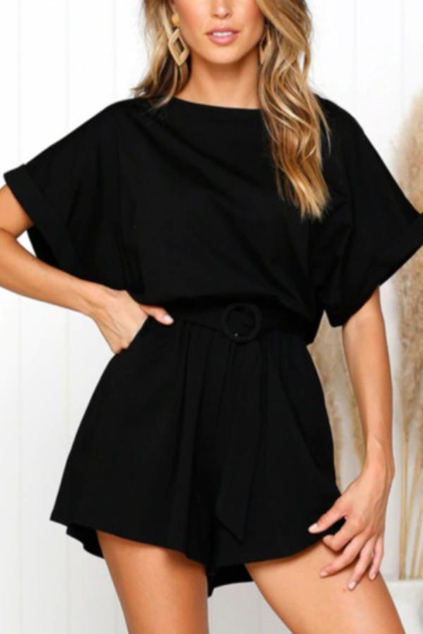 Solid Casual Batwing Rompers