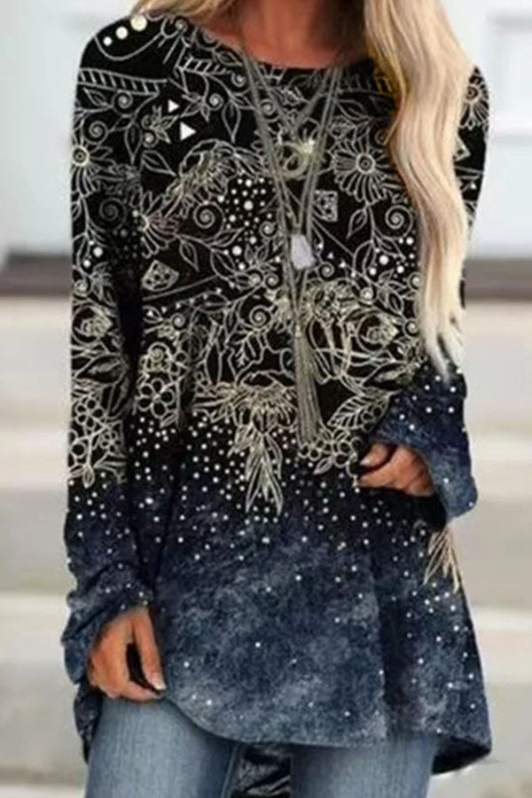 Artistic Abstract Floral With Polka Dots Gradient Print Raglan Sleeves Shift T-shirt