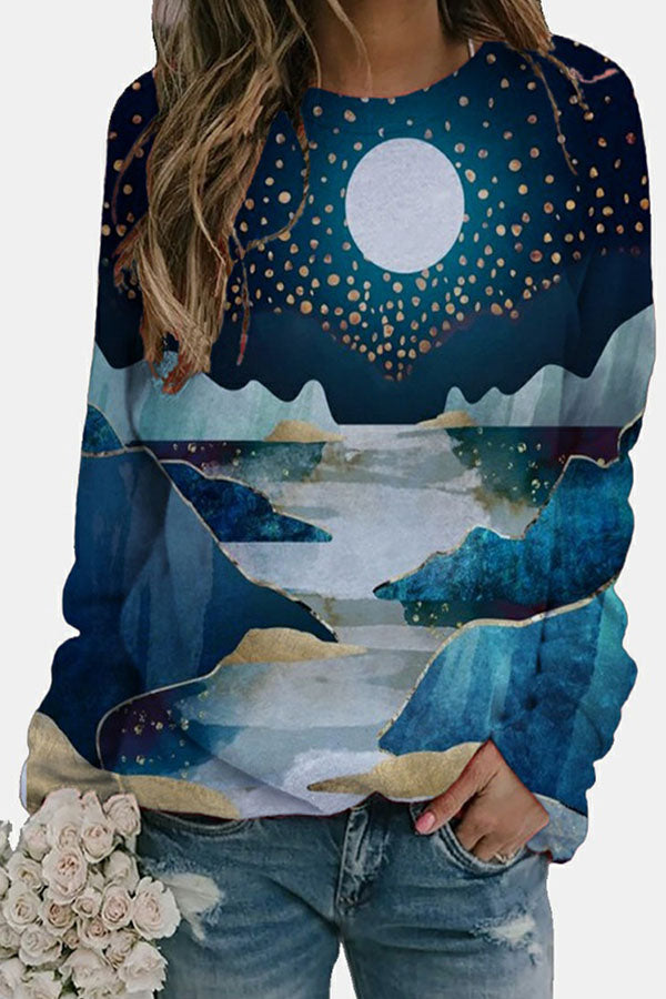 Night Landscape Mountain River Moon Jacquard Vintage Sweatshirt