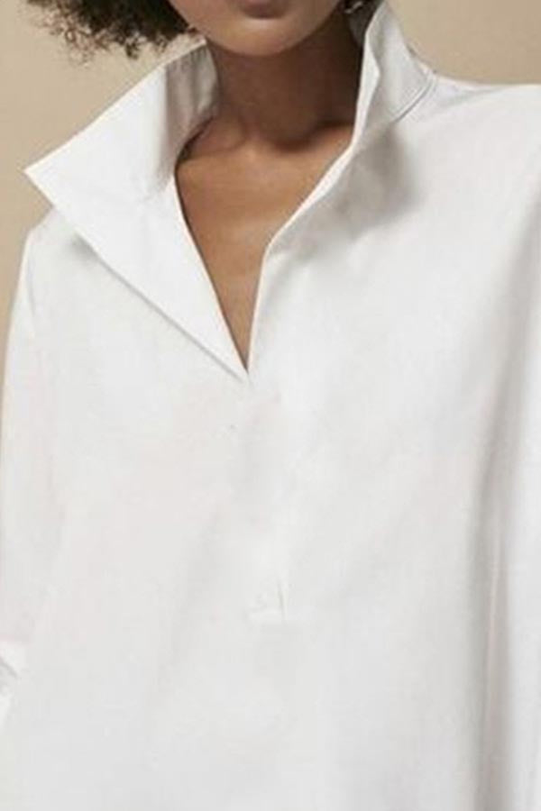 Solid Casual V Neck Lantern Sleeves Shirt