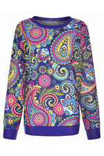 Lively Bright Color Cashew Print Crew Neck T-shirt
