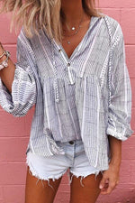 Striped Buttoned V-neck Paneled Casual Shirt