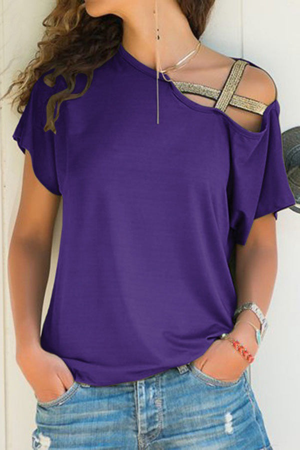 Casual Solid Irregular Oblique Shoulder T Shirt
