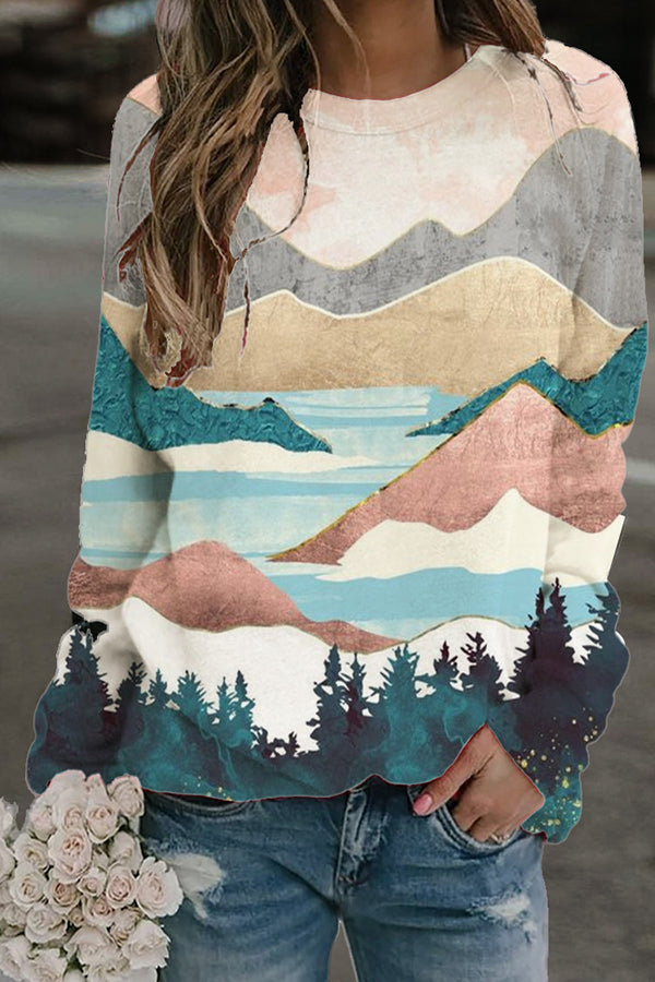 Artistic Oil Painting Mountain Rivers Landscape Print Sweatshirt
