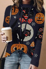 Halloween Cartoon Pumpkin Black Cat Owl Snowflake Print Hoodie