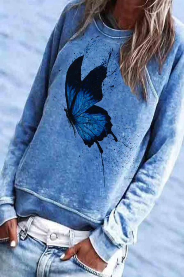 Butterfly Print Paneled Crew Neck Casual Sweatshirt