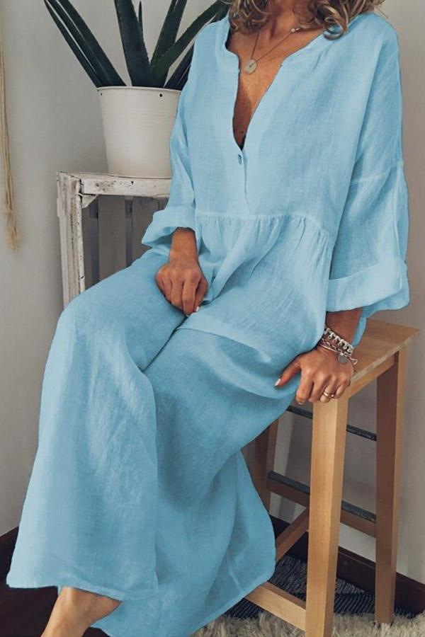 Solid Loose Long Sleeves Maxi Dress