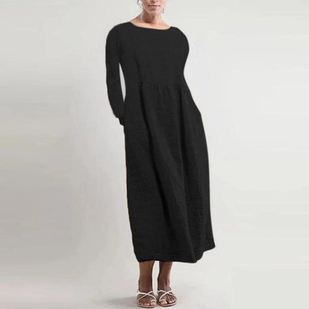 Side Pockets Long Sleeves Midi  Dress