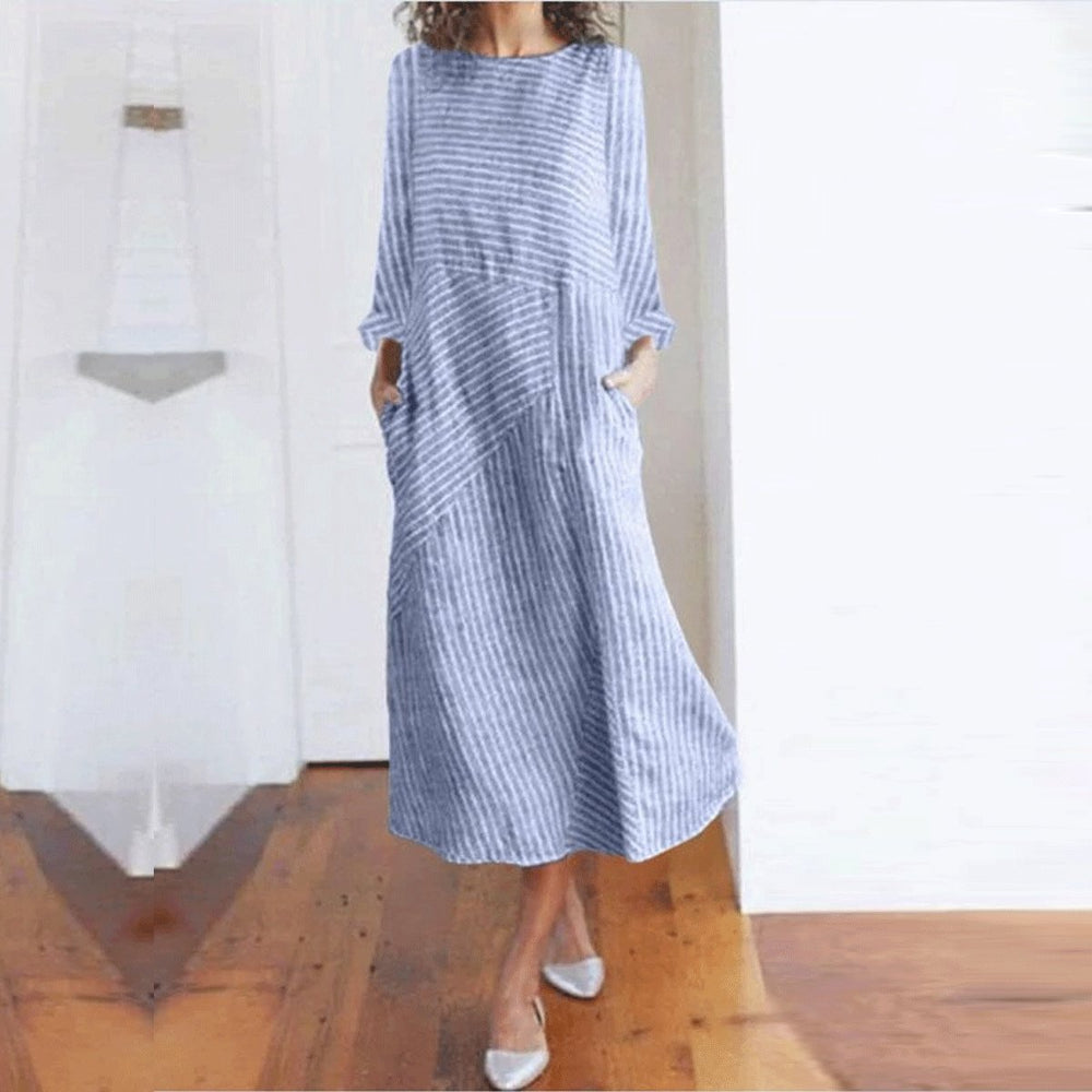Stripe Side Pockets Long Sleeves  Midi Dress