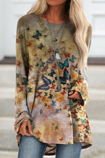 Vintage Butterfly Print Gradient Paneled Long Sleeves T-shirt