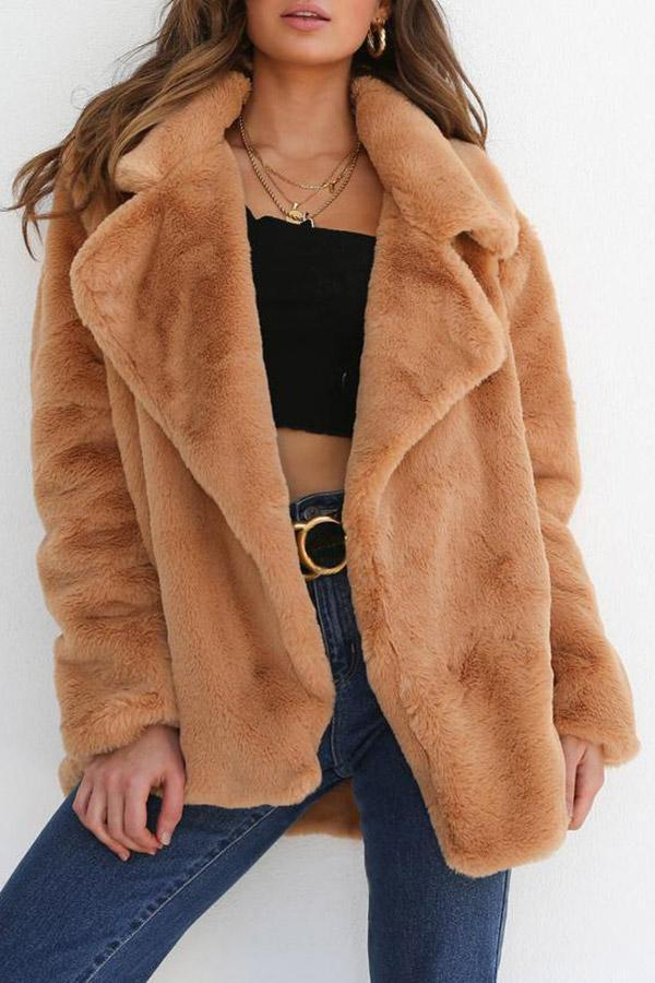 Faux Fur Fluffy Lapel Warm Coat