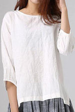 Solid Paneled Half Sleeves Pleated Casual Blouse