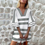 Casual V Neck Trumpet Sleeves Holiday Mini Dress