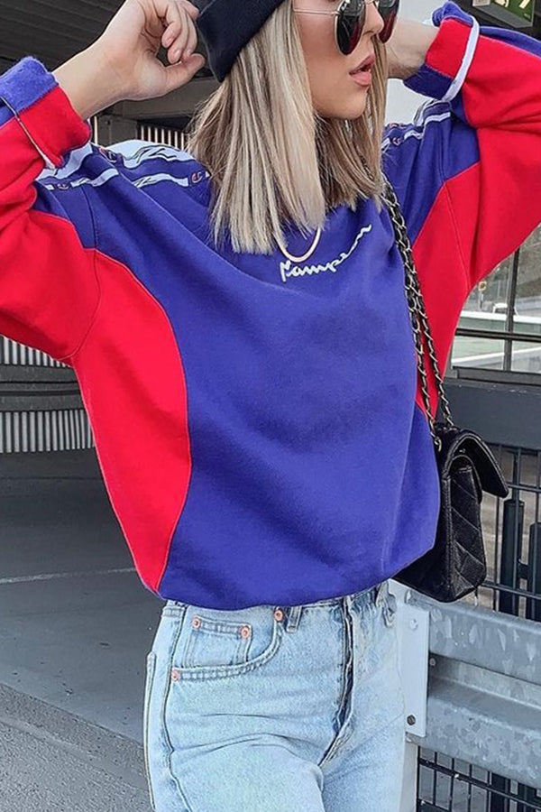 Sports Fashion Letter Print Color-block Woman Sweatshirt